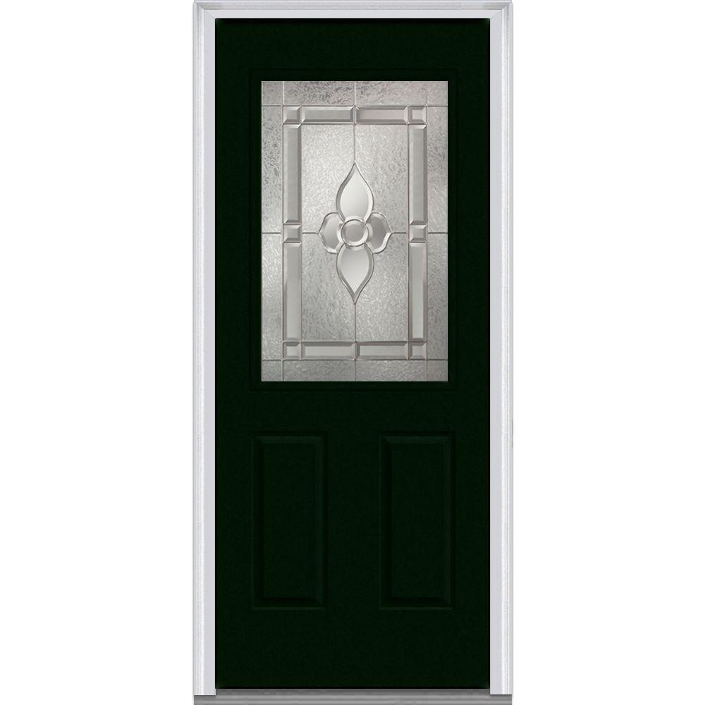 Master Nouveau Decorative Glass 1/2 Lite 2-Panel Painted Majestic Steel Prehung Front Door