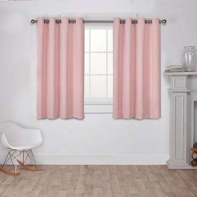 Sateen 52 in. W x 63 in. L Woven Blackout Grommet Top Curtain Panel in Blush (2 Panels)