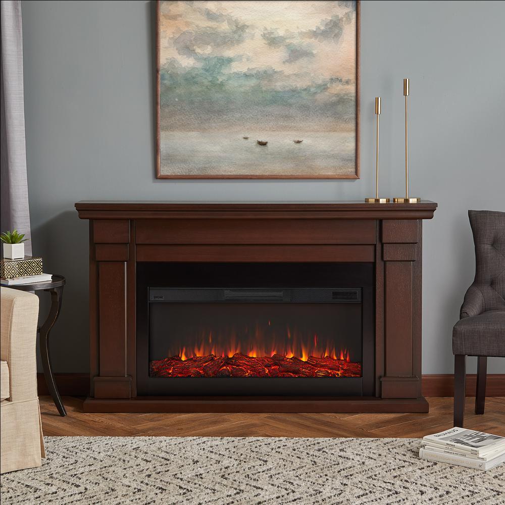 Carlisle 64 in. Freestanding Electric Fireplace in Chestnut Oak