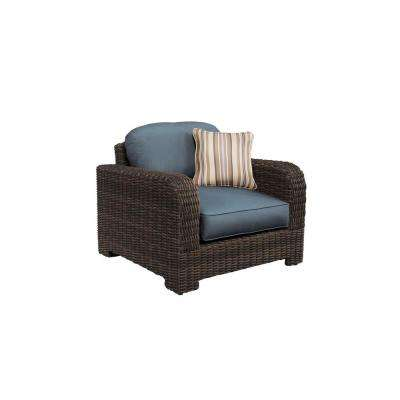 Northshore Patio Lounge Chair with Denim Cushions and Terrace Lane Throw Pillow -- CUSTOM