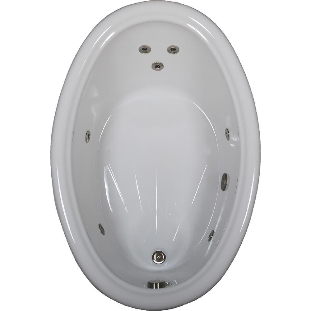 60 in. Acrylic Oval Drop-in Whirlpool Bath Bathtub in Biscuit