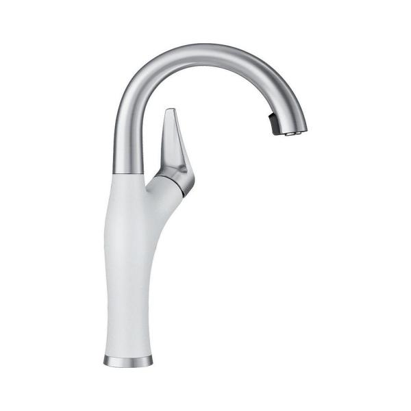 Artona Single-Handle Bar Faucet Pull-Down Sprayer in White/Stainless