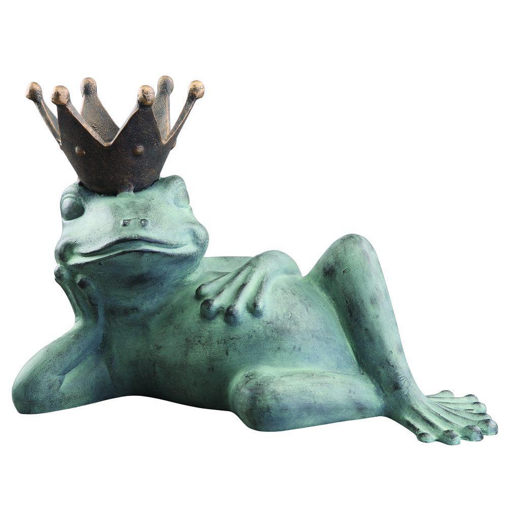 Lazy Frog Prince Bird Feeder, Verdi With Bronze