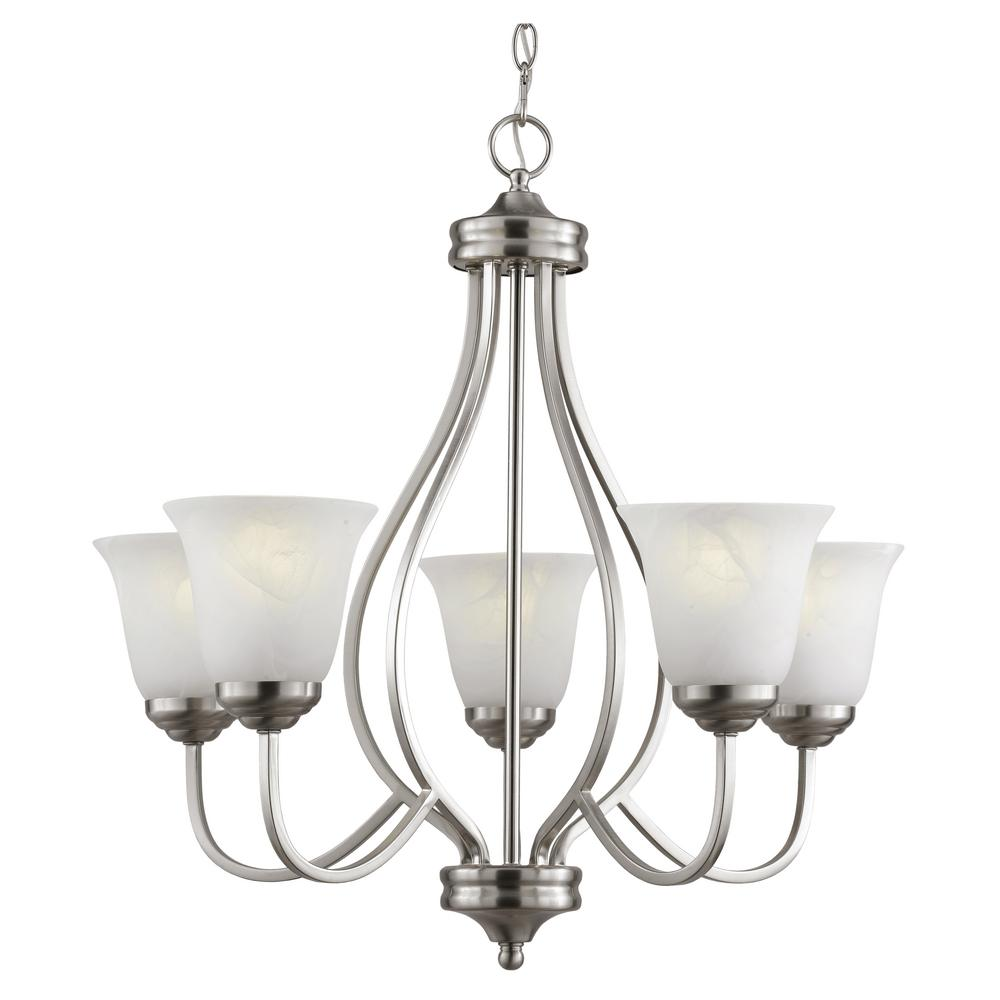 5 light brushed nickel chandelier with marbleized glass shades pl 5 light brushed nickel chandelier with marbleized glass shades pl 10005 bn the home depot arubaitofo Image collections