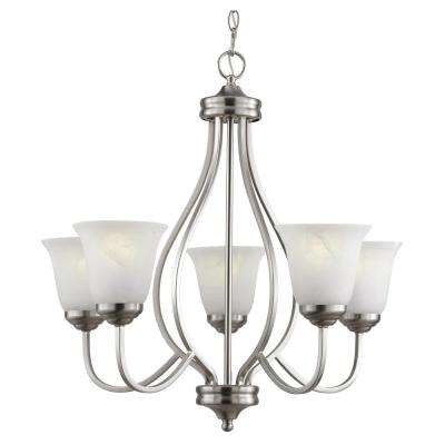 5-Light Brushed Nickel Chandelier with Marbleized Glass Shades