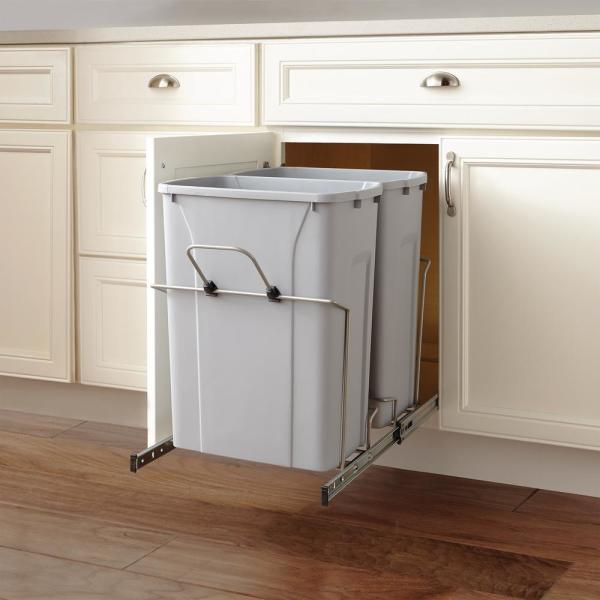 Home Decorators Collection 18 13 16 In H X 14 3 8 In W X 22 In D 28 75 Qt In Cabinet Double Bottom Mount Pull Out Trash Can Hdr Psw15 2 35p The Home Depot