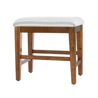 Home Decorators Collection Walnut Finish Upholstered Vanity Stool (21 in W. X 19 in H.)