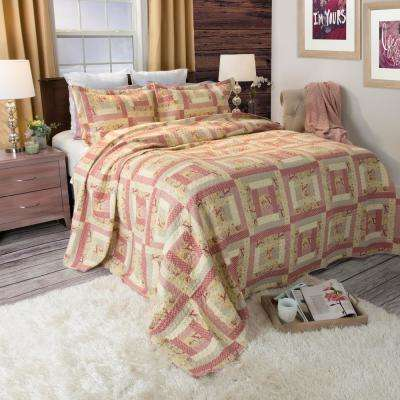 Melissa Red Polyester King Quilt
