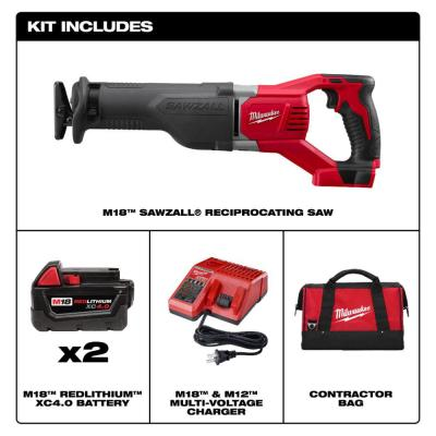 M18 18-Volt Lithium-Ion Cordless SAWZALL Reciprocating Saw with Two 4.0 Ah Batteries, Charger and Contractor Bag
