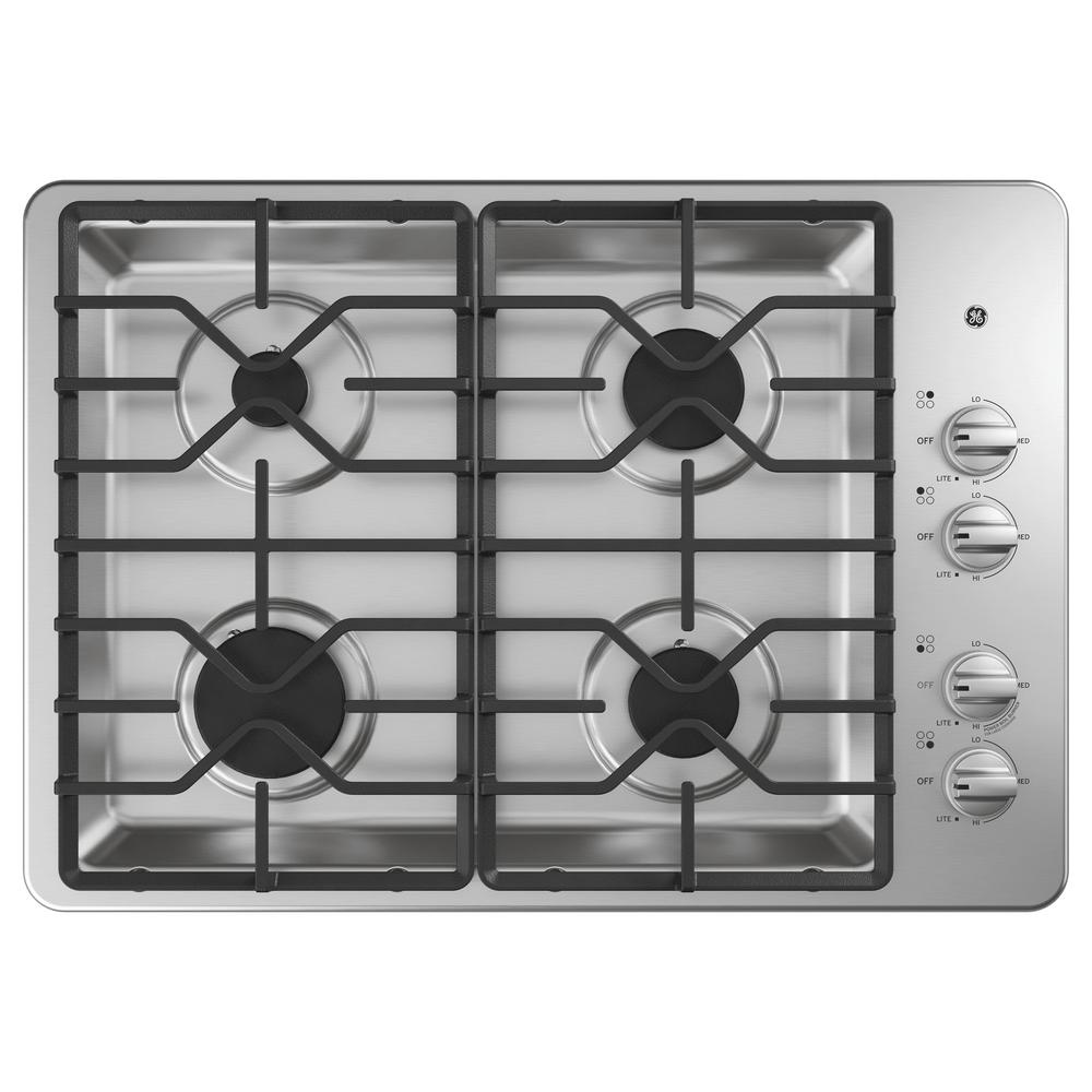 GE 30 in. Gas Cooktop in Stainless Steel with 4-Burners Including Power Burners