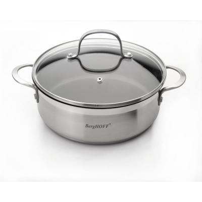 Bistro 10 in. Non-Stick Stainless Steel Deep Skillet with Glass Lid