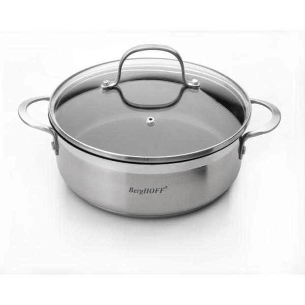 BergHOFF Bistro 10 in. Non-Stick Stainless Steel Deep Skillet with Glass Lid
