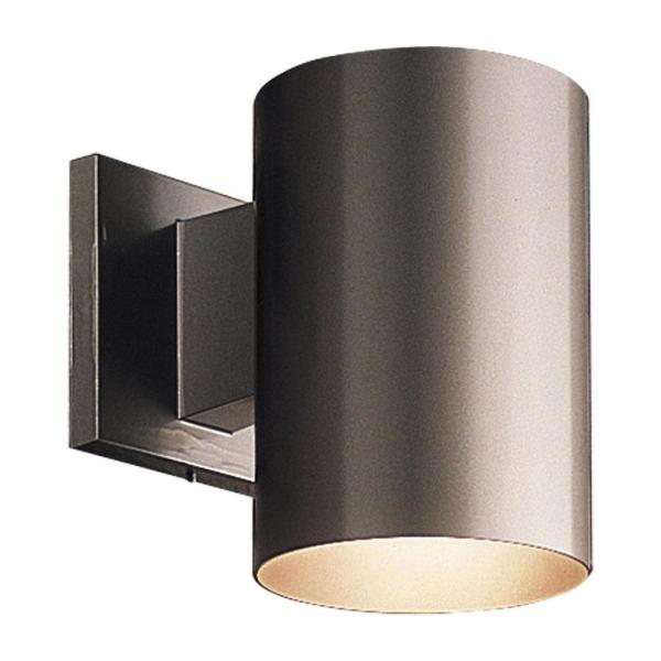 1-Light Antique Bronze Integrated LED 7.5 in. Outdoor Wall Mount Cylinder Light