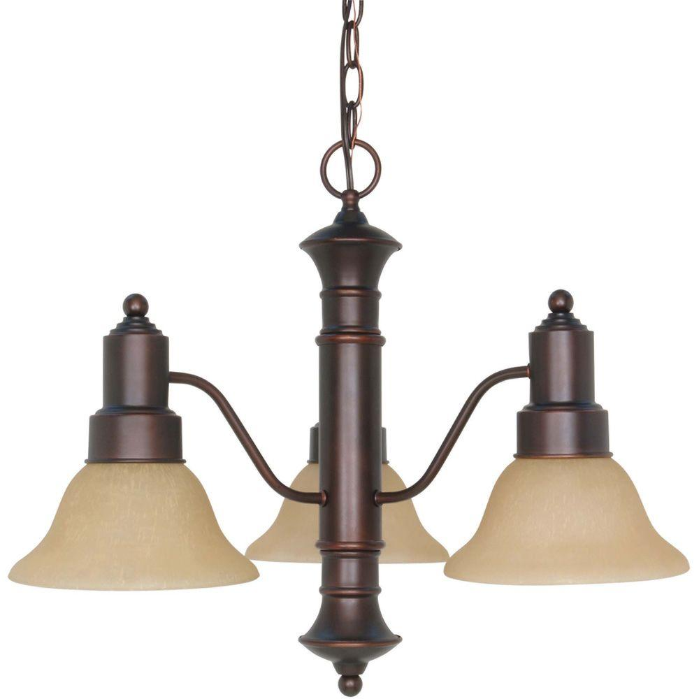 3-Light Mahogany Bronze Chandelier with Champagne Linen Washed Glass Shade