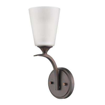 Zoey 1-Light Oil-Rubbed Bronze Sconce with Frosted Glass Shade