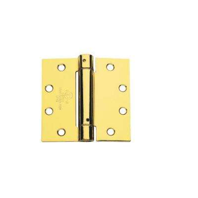 CPS Series 4.5 in. x 4 in. Full Mortise Spring Hinge in Bright Brass  (3-Pack)