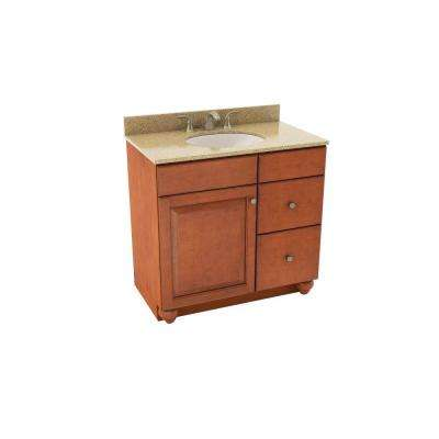 Charlottesville 37 in. Vanity in Cognac with Right Drawers and Silestone Quartz Vanity Top in Bamboo and Oval White Sink