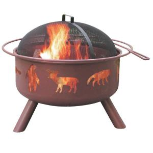 LANDMANN 24 inch Big Sky Wildlife Fire Pit in Georgia Clay with Cooking Grate by LANDMANN