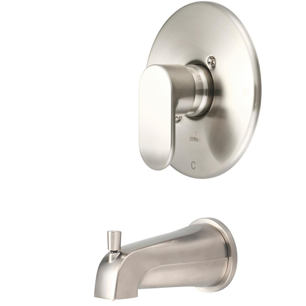 Olympia Faucets i1 1-Handle Wall Mount Tub Trim Kit in Brushed Nickel (Valve Not Included)