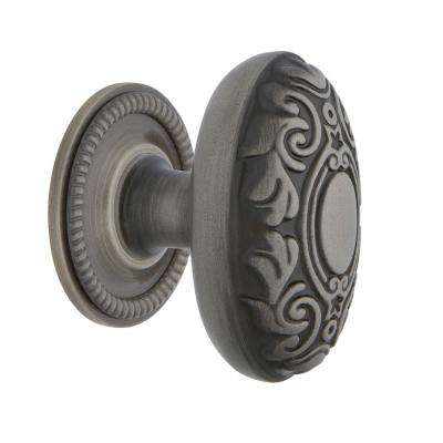 Victorian 1-3/4 in. Antique Pewter Brass Cabinet Knob with Rope Rose