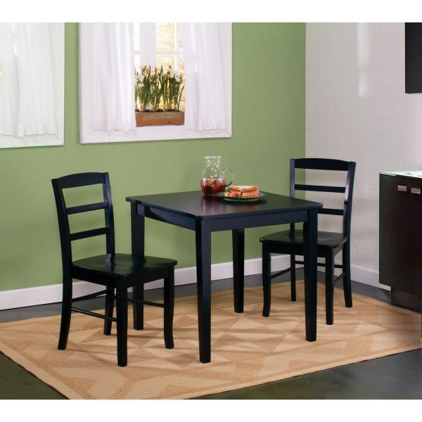 International Concepts Black Solid Wood Dining Table K46-3030-30S