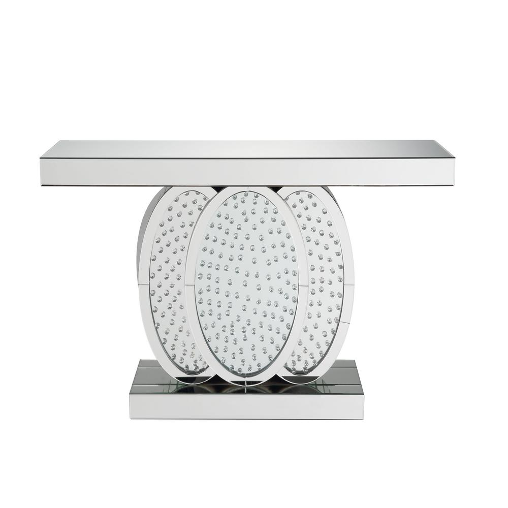 Nysa Mirrored And Faux Crystals Console Table By Acme Furniture
