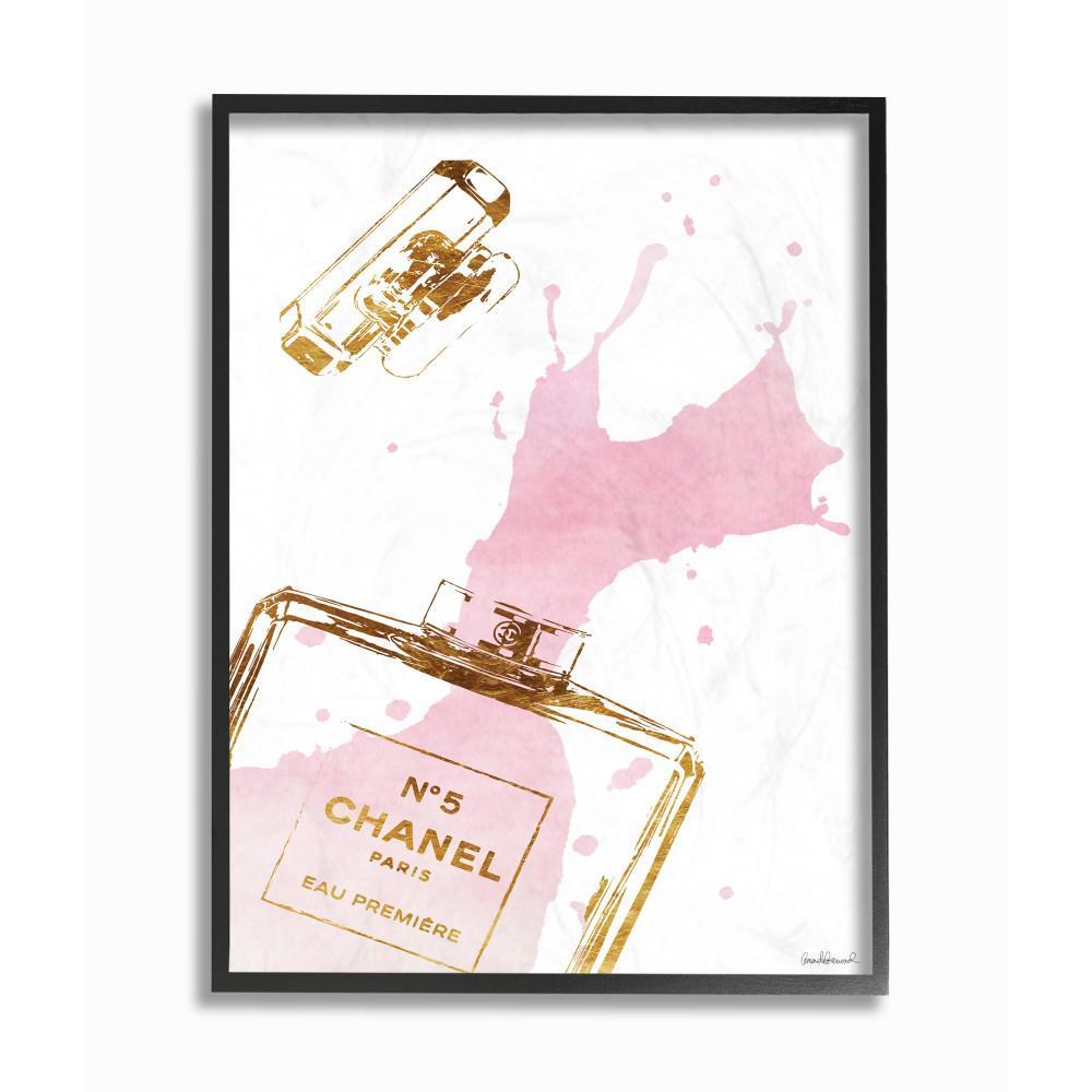 11 in x 14 in glam perfume bottle splash pink gold by amanda greenwood wood framed wall art