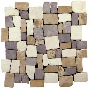 Block Tile Tan/White/ Grey 11-3/4 in. x 11-3/4 in. x 9.5mm Indonesian Marble Mosaic Tile (10.67 sq. ft. / case)