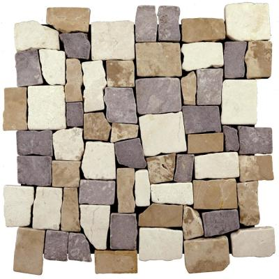 Block Tile Tan, White and Grey 11-3/4 in. x 11-3/4 in. x 9.5mm Indonesian Marble Mosaic Tile (10.659 sq. ft. / case)