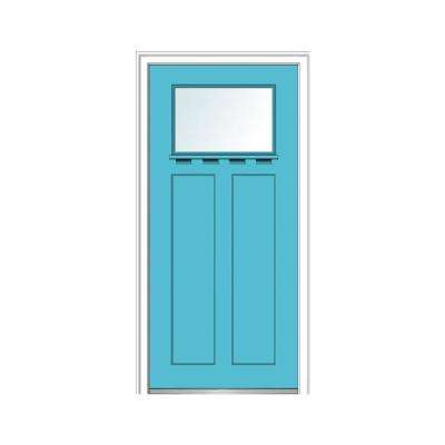 36 in. x 80 in. Left-Hand Inswing 1-Lite Clear 2-Panel Shaker Painted Fiberglass Smooth Prehung Front Door with Shelf
