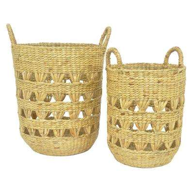 17.25 in. x 17.25 in. Baskets-Water Hyacinth in Brown (Set of 2)