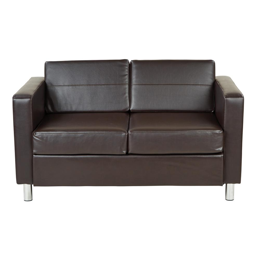 Office Star Products Pacific Espresso Faux Leather Loveseat Pac52 V34 The Home Depot