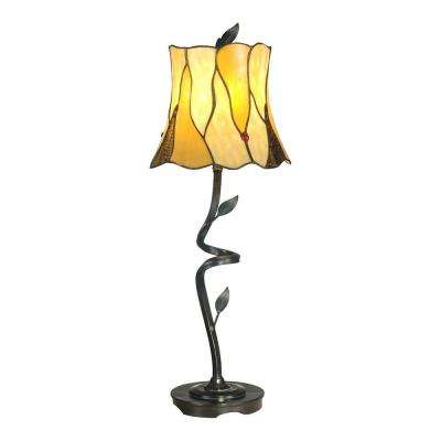 25.5 in. Bronze Twisted Leaf Art Glass Table Lamp