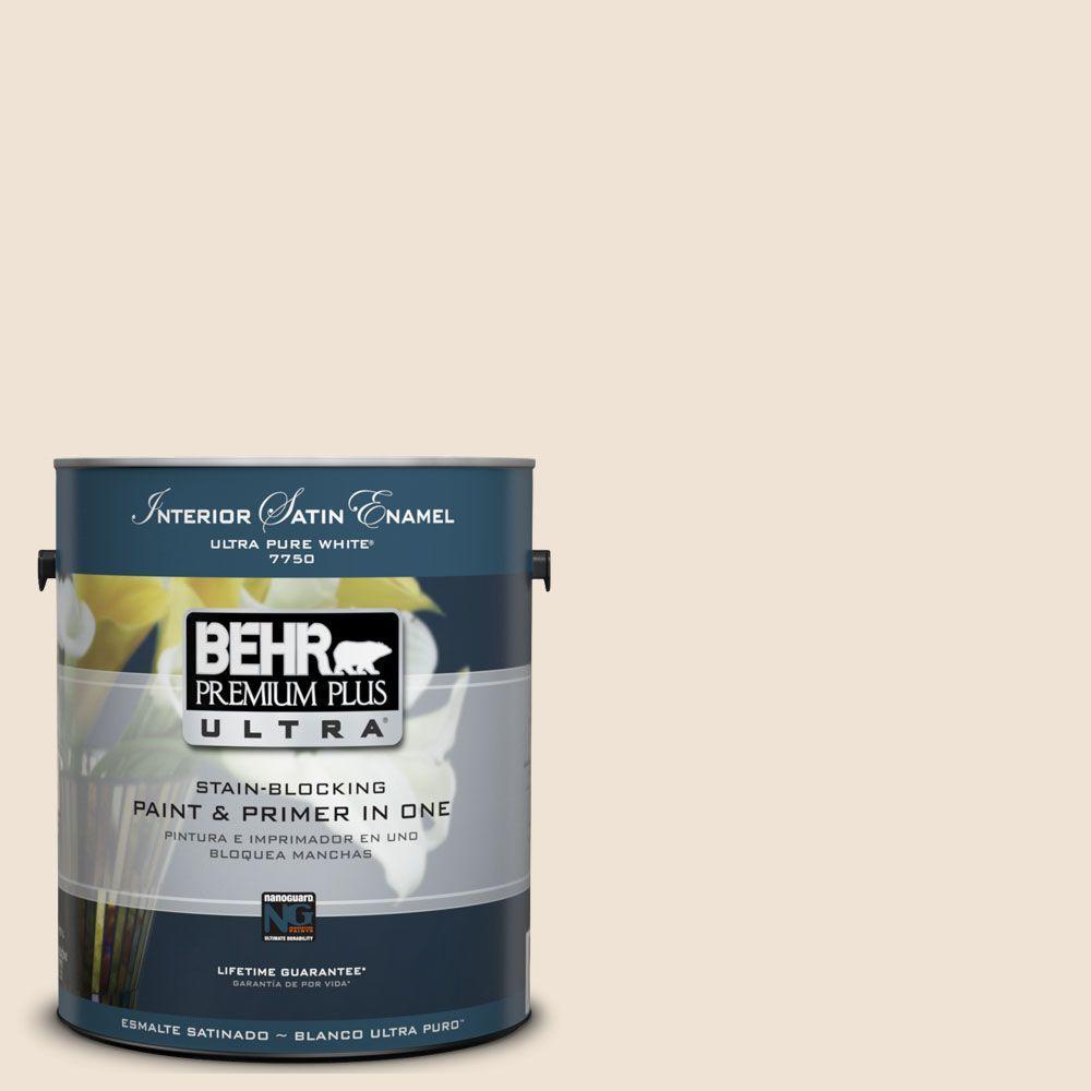 BEHR Premium Plus Ultra 1-Gal. #UL150-8 Artist's Canvas Interior Satin Enamel Paint
