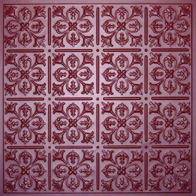 Fleur-de-lis Merlot 2 ft. x 2 ft. Lay-in or Glue-up Ceiling Panel (Case of 6)