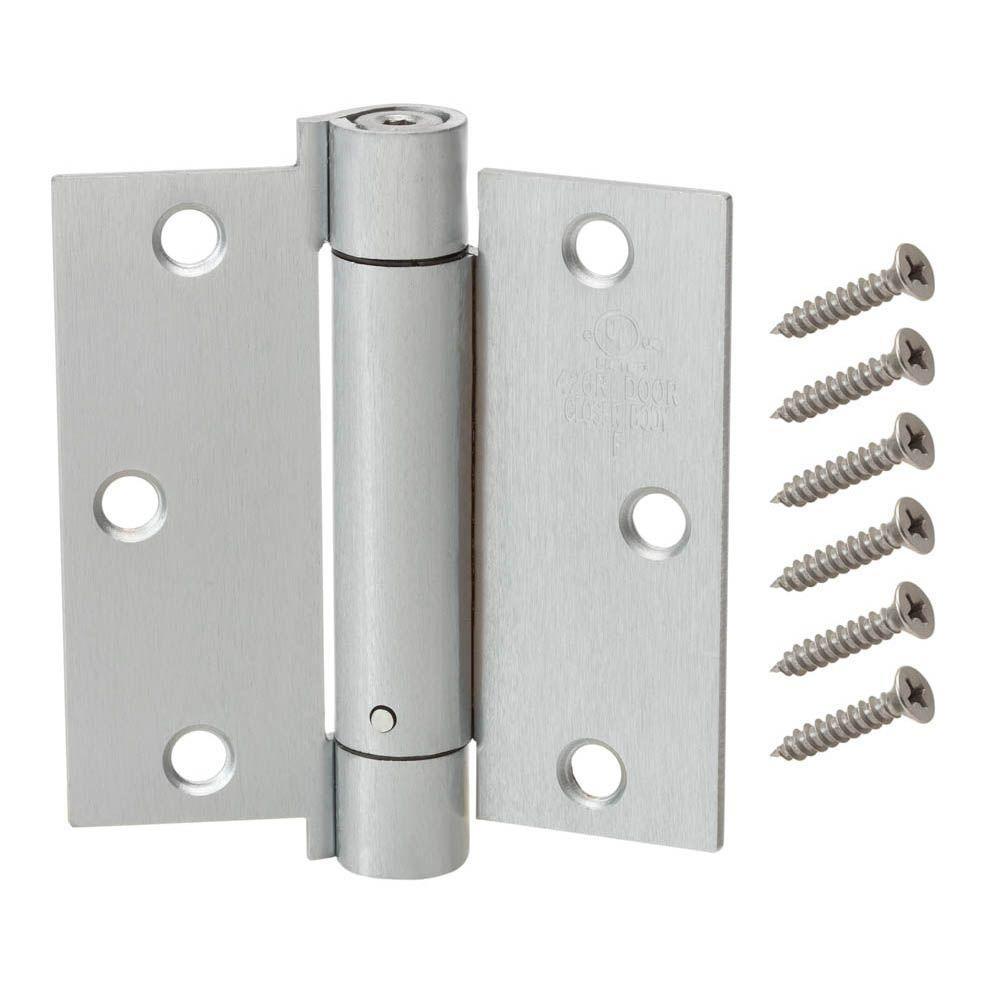 3-1/2 in. Satin Chrome Adjustable Spring Door Hinge