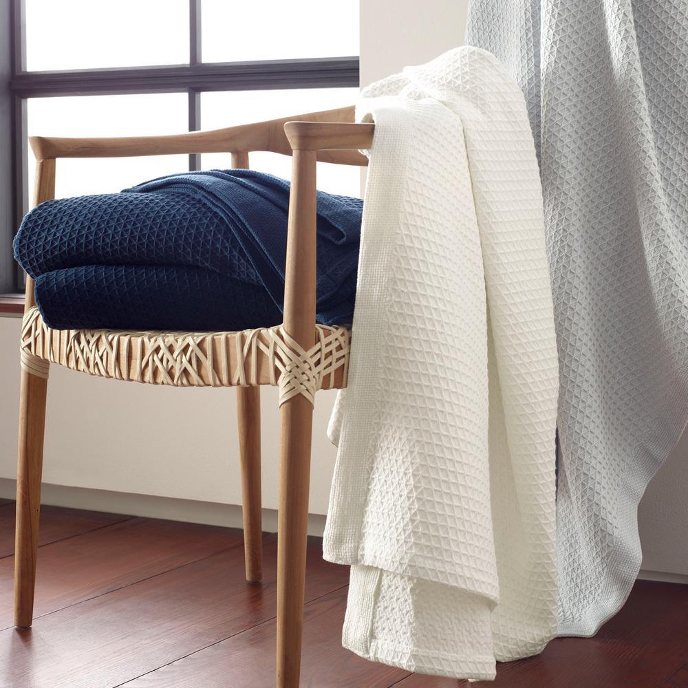 Nautica Baird White Cotton Full/Queen Blanket 216087