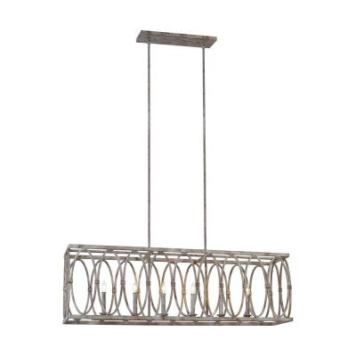 Patrice 6-Light Deep Abyss Linear Chandelier with Open Oval Cage Shade