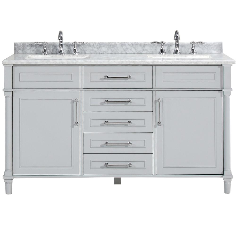 Home Decorators Collection Aberdeen 60 in. W x 22 in. D Double Bath Vanity in Dove Grey with Carrara Marble Top with White Sinks