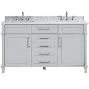 Aberdeen 60 in. W x 22 in. D Double Bath Vanity in Dove Grey with Carrara Marble Top with White Sinks