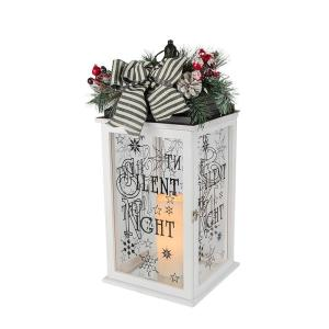 23 in. H White Wooden Lantern with Resin LED Timer Candle