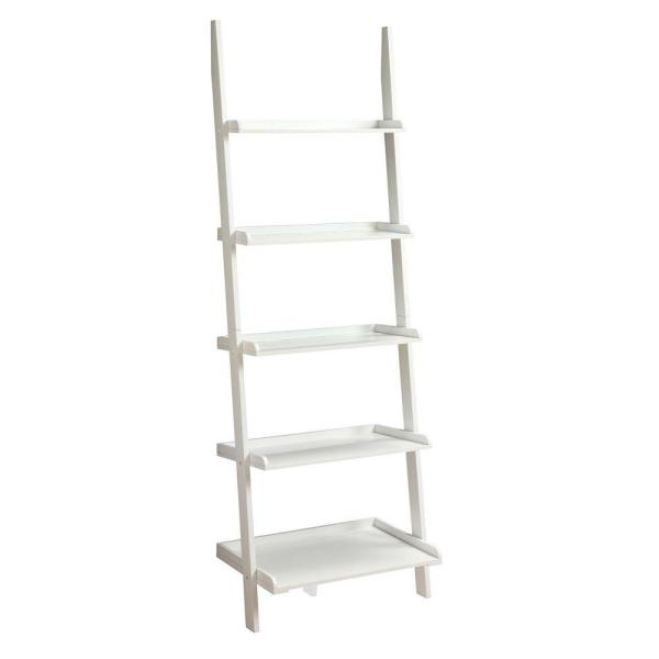 72 in. White Wood 5-shelf Ladder Bookcase with Open Back