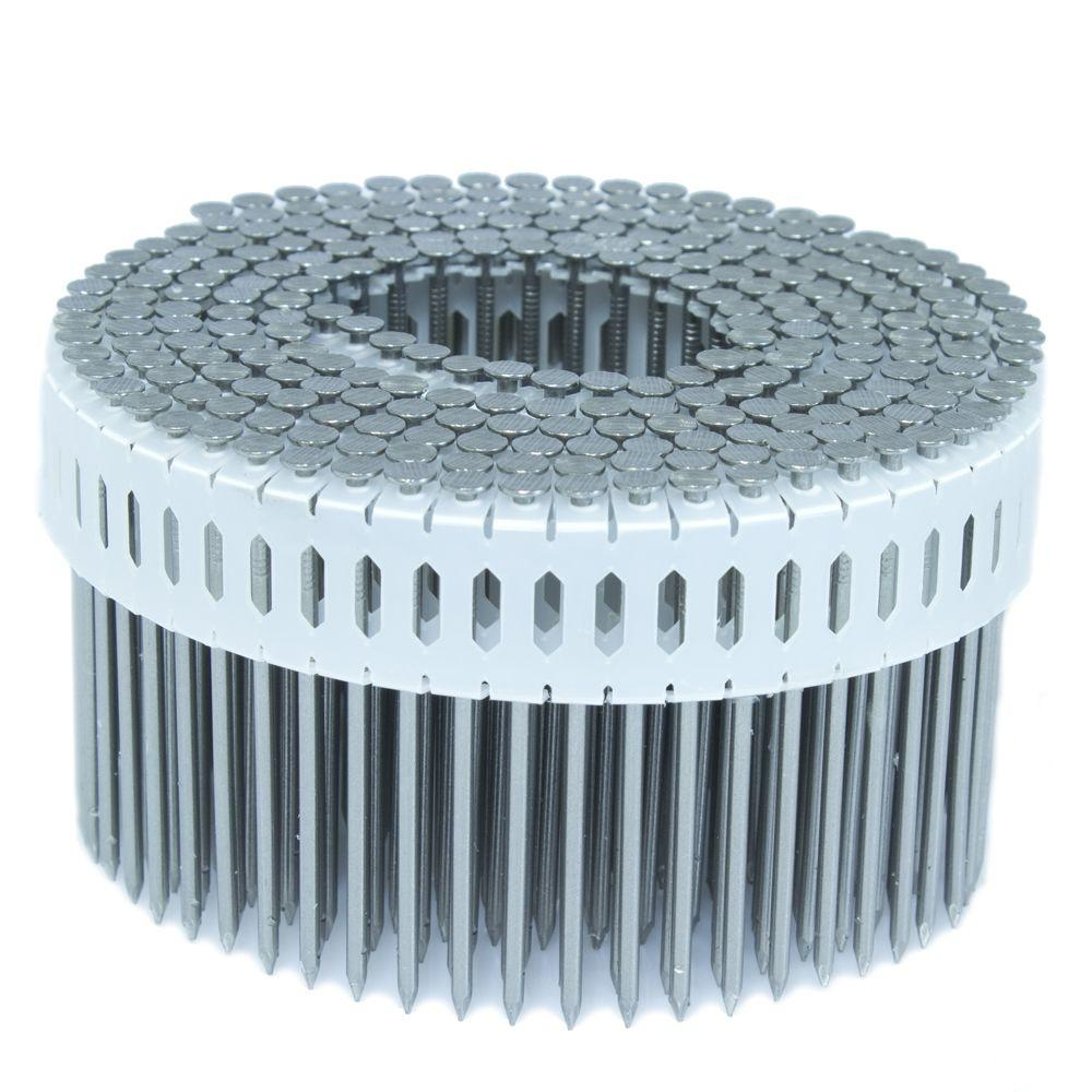FASCO 2.5 in. x 0.092 in. 0-Degree Smooth Stainless Plastic Sheet Coil Nail 4,000 per Box