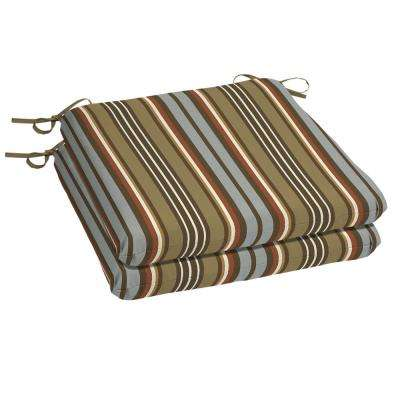Southwest Toffee Stripe Square Outdoor Seat Cushion (2-Pack)