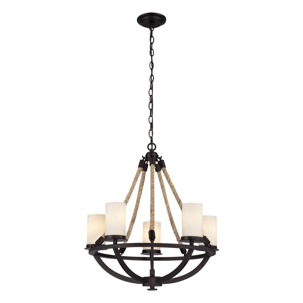 Titan Lighting Natural Rope 5-Light Aged Bronze Chandelier With White Candle-Glass Shades