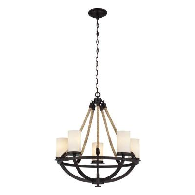 Natural Rope 5-Light Aged Bronze Chandelier With White Candle-Glass Shades