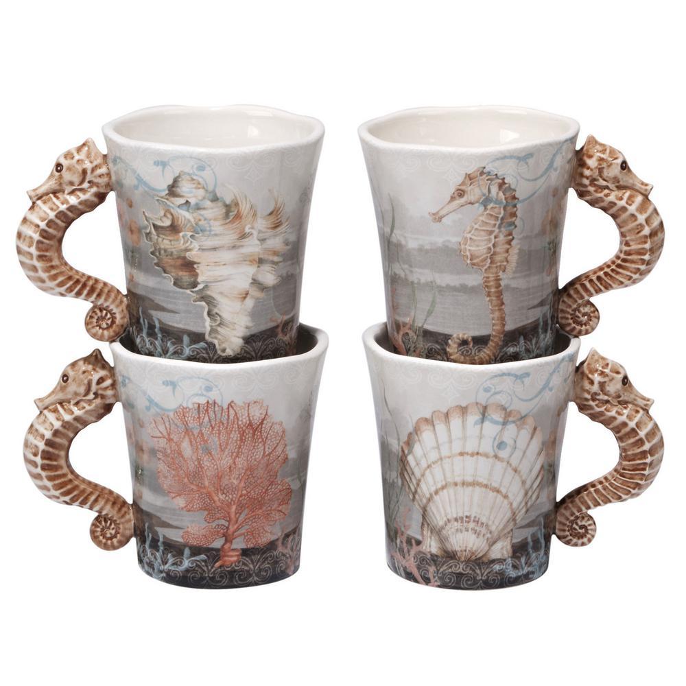 Coastal View 20 oz. Multi-Colored Ceramic Mugs (Set of 4)