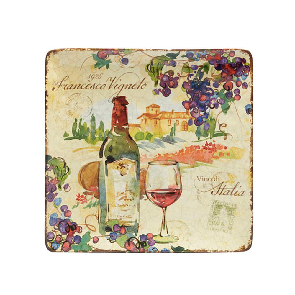 Vino 12.25 in. Multi-Colored Ceramic Square Platter
