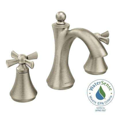 Wynford 8 in. Widespread 2-Handle High-Arc Bathroom Faucet with Cross Handles in Brushed Nickel (Valve Sold Separately)