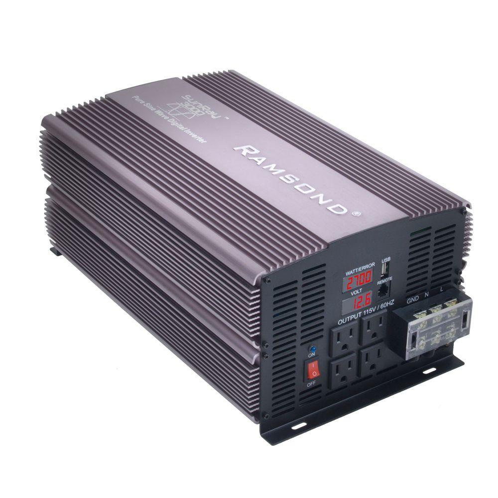 Ramsond Sunray 3000 Pure Sine Wave Intelligent DC to AC Inverter (12-Volt) by Ramsond